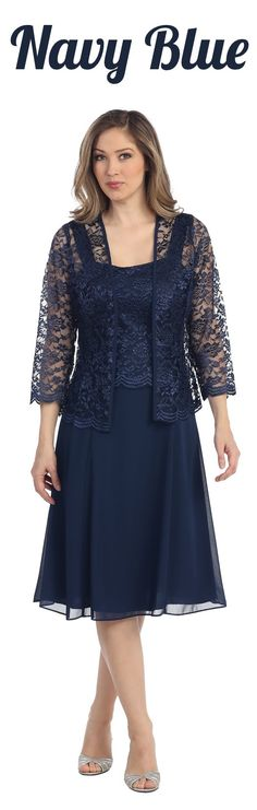 This short A line modest knee length navy dress is perfect for mother of the bride or another formal occasion. This lace with pebble dress has wide sleeveless tank straps and also includes a matchin...