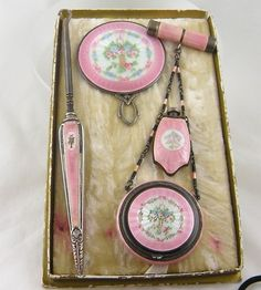 Guilloche and Sterling Silver 5 piece Chatelaine Set.