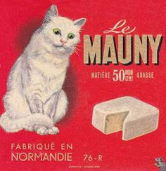 Vintage Camembert label, Le Mauny from Normandie, France.