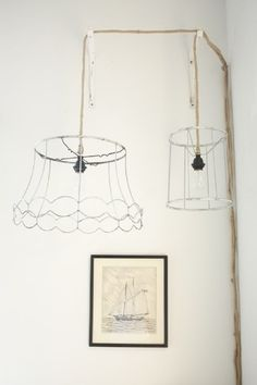 Wire basket lamp - could use the gold one I have! Keeps the room bright!