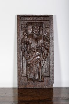16th century carved oak panel, Marhamchurch antiques