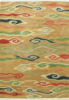 Swirling Clouds (gold) - A Rug For All Reasons - Handmade Area Rugs Handmade Home Decor, Handmade Rugs, Tiger Rug, Tibetan Rugs, Clouds Pattern, Interior Rugs, Korean Art, Wool Area Rugs, Wool Rugs