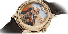 Leopold Robert Collection by Robert & Fils 1630 - Two young Girls at the fountain watch...  For this new timekeeper, Robert & Fils 1630 drew inspiration from one of the paintings by the famous Swiss painter, Léopold Robert, entitled Two Young Girls at the Fountain. Crafted in grand feu enamel with miniature painting, the dial displays the hours and minutes. The Two Young Girls at the Fountain watch is driven by an automatic mechanical movement from the years 1960 to 1970..