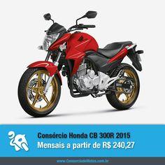 A linha 2015 da Honda CB 300R já está disponível no mercado de motocicletas e você pode programar a compra da sua em até 70 meses pelo consórcio. Veja na matéria: https://www.consorciodemotos.com.br/noticias/nova-honda-cb-300r-2015-a-partir-de-r-240-27-mensais?idcampanha=288&utm_source=Pinterest&utm_medium=Perfil&utm_campaign=redessociais