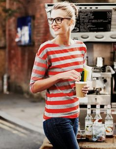 Fashion style women apparel clothing outfit striped top blue jeans glasses summer red gray casual