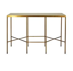 Do you like the idea of an all black console table with an aged mirror top. Or do you prefer an antique brass console with a cream shagreen top? The Worlds Away Meriden Console is available in both. W / D / H / 20 lb. Small Console Tables, White Console Table, Small Tables, Mirror With Shelf, Foyer Design, Foyer Decorating, Burke Decor, Trends, Bronze
