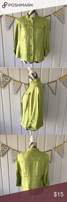 "Ruby Rd. Lime Green Shimmer Button Down Jacket Gorgeous lime green colored button up jacket. The material has a beautiful shimmer to it, and the buttons have a pearly shine. Perfect for Spring! It is in excellent condition. The color is best represented in the first pictures.  21"" Bust 23"" Long Ruby Rd. Jackets & Coats"