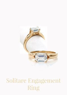 This engagement ring is a modern interpretation to a classic solitaire engagement ring. Setting the 1.70 carat emerald cut west to east creates a stunning focal to the center of the ring. The split band joins with the trellis profile to create the four sets of double prongs. Click on pin for more details. Vintage Inspired Engagement Rings, Contemporary Engagement Rings, Halo Engagement Rings, Antique Engagement Rings, Wedding Ring Bands, Diamond Anniversary Rings, Morganite Ring, Diamond Sizes, Minimalist Earrings