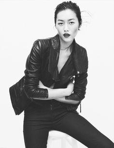 leather jacket x statement lips :: Liu Wen