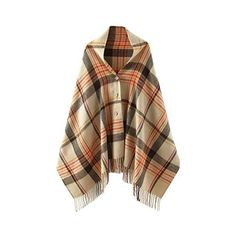 VamJump Women Winter Tartan Plaid Cashmere Fringe Blanket Poncho Scarf... ❤ liked on Polyvore featuring outerwear, coats, brown poncho, tartan poncho, cashmere poncho, cashmere coat and fringe coat