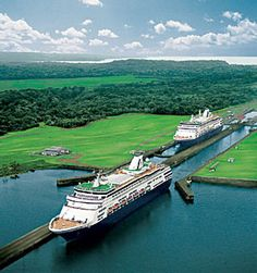 Holland America Line Cruise Ship on Panama Canal