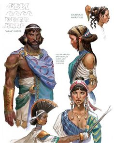 Strong roman dress, particularly hair, inspiration mingles with more middle eastern/north african patterns.