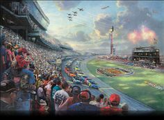 Thomas Kinkade NASCAR THUNDER painting for sale, this painting is available as handmade reproduction. Shop for Thomas Kinkade NASCAR THUNDER painting and frame at a discount of off. Thomas Kinkade Disney, Thomas Kinkade Art, Kinkade Paintings, Oil Paintings, Painting Art, Thomas Kincaid, Art Thomas, Daytona 500, Nascar Daytona