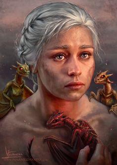 "Game of Thrones - Daenerys Targaryen ""Mother of Dragons"" by Inna-Vjuzhanina Tatuagem Game Of Thrones, Dessin Game Of Thrones, Arte Game Of Thrones, Game Of Thrones Tattoo, Game Of Thrones Books, Game Of Thrones Houses, Emilia Clarke Daenerys Targaryen, Daenerys Targaryen Art, Game Of Throne Daenerys"