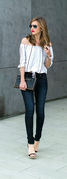 off shoulder blouse with skinny jeans