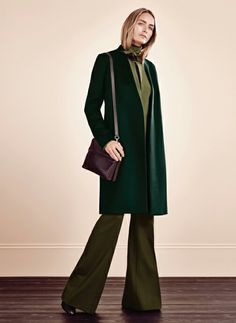 Love this autumnal green coat.... Hobbs AW16