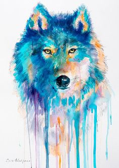 "Wolf watercolor painting print 8"" x 12"" blue, beautiful, dog, watercolor, art, Painting, Animals, Illustration"