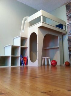 Kids Loft Play Area Design, Pictures, Remodel, Decor and Ideas - page 2 Play Structures For Kids, Bunk Beds With Stairs, Loft Stairs, Modern Kids, Kid Spaces, Play Houses, Kids Furniture, Girl Room, Kids Playing
