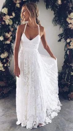 Informal Wedding Dresses, Wedding Dresses 2018, White Wedding Dresses, Ivory Wedding, Party Dresses, Boho Lace Wedding Dress, Affordable Wedding Dresses, Beach Style Wedding Dresses, Wedding Reception Dresses