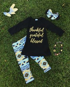 """Black/Gold Aztec """"Thankful, Grateful, Blessed"""" Pant Set #boutique-outfits #new #perfect-sets"""