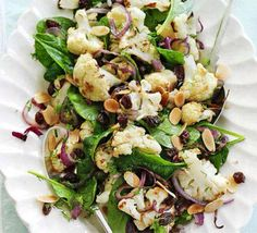 Cauliflower Salad  Ingredients  1 cauliflower, broken into florets 2 tbsp olive oil 1 red onion, thinly sliced 3 tbsp sherry vinegar 1½ tbsp honey 3 tbsp raisins small bunch dill, snipped 3 tbsp toasted, flaked almonds 50g baby spinach Compare prices