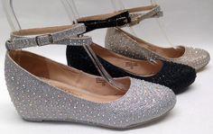 NEW Chase & Chloe Wedge Low Heel PROM WEDDING HOMECOMING GLITTER RHINESTONE shoe #ChaseChloe #PumpsClassics #WeddingBridalPromPageantDebutanteHomecoming