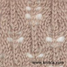 Multiple lace patterns Right side of knitting stitch pattern – Lace 13 : www.knitca.com
