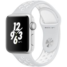 Apple Watch Nike+, 38Mm Silver Aluminium Case With Platinum/White Nike... ($480) ❤ liked on Polyvore featuring jewelry, watches, white, silver jewellery, silver watches, water resistant watches, apple wrist watch and heart jewelry