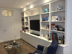 Media Unit for client in Surrey Living Room Cupboards, Living Room Built Ins, Bookshelves In Living Room, Open Space Living, Room Shelves, Feature Wall Living Room, Living Room Wall Units, Living Room Storage, New Living Room