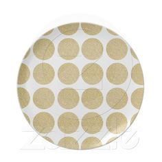 Bold Glitter Gold Polka Dots Party Plate from Zazzle.com #polkadots #gold #glitter #preppy #gatech