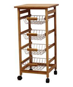 Bamboo Wood Kitchen Cart #zulily #zulilyfinds