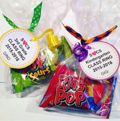 Class Favor - End of Year Goodie - Ring Pop - Class Ring - Pre-school Bethany Ford Pre School Graduation Ideas, Preschool Graduation Gifts, Graduation Theme, Preschool Gifts, Kindergarten Graduation, Daycare Crafts, Student Gifts End Of Year, End Of School Year, Teacher Gift Baskets