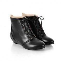 $17.98 Retro Casual Women's Combat Boots With Solid Color and Lace-Up Low Heel Design