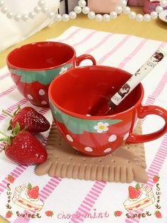 Strawberry cups #cute #kawaii #strawberry #cups