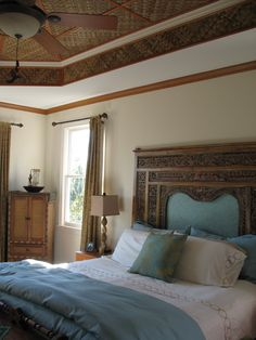 A Client's Master Bedroom Bali Style. Indonesian Carved Bed Panel as headboard from Gado Gado.