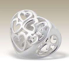 so pretty  HEARTS in HEART European Charm Bead 925 Sterling Silver Fits Trollbeads Chamillia Biagi and All  European Charm Bracelets. $17.99, via Etsy.