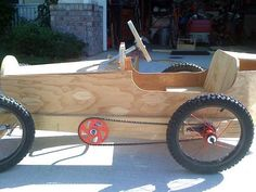 Wooden Go-Kart with chain and pedal drive