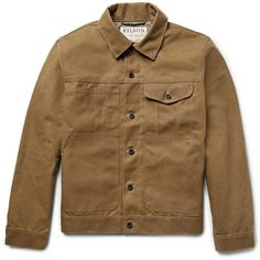 Filson Short Lined Cruiser Water-Repellent Cotton Tin Cloth Jacket ($295) ❤ liked on Polyvore featuring men's fashion, men's clothing, men's outerwear, men's jackets, mens fleece lined jacket, mens cotton jacket, mens short jacket and mens utility jacket
