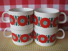 Vintage Melitta Coffee Cups Red Flowers Set of 4 by LucyBettyNJune, $16.00