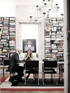 Karl Lagerfeld Has Arranged His Floor-to-Ceiling Library Sideways - My Modern Met Karl Lagerfeld, Fendi, Chanel, Karl Otto, The Rest Of Us, Book Images, Minimalist Decor, Office Interiors, Bookshelves