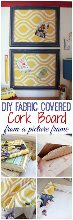 DIY Fabric Covered Cork Board using a Picture Frame {One Item Challenge} - The Happy Housie