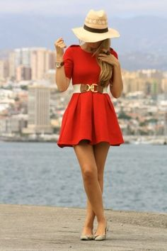 Okay so its kind of red...but lets just call it coral which is in the orange family!  haha cute look!