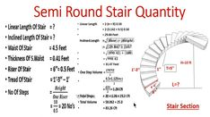 Quantity calculation of semi round stairs Circle Stairs, Round Stairs, Circle House, Engineering Notes, Civil Engineering Design, Civil Engineering Construction, Spiral Staircase Plan, Staircase Design, Construction Estimating Software