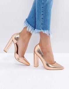 814af37014fc Public Desire Rose Gold Block Heel Pumps  asos