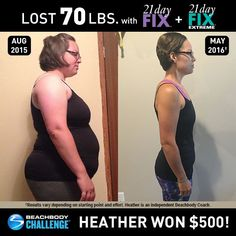 See how Heather lost 70 pounds with Beachbody programs! // results // before and after picture // weight loss // transformation // success stories // fitness // exercise // nutrition // women's results // Beachbody Challenge // Beachbody Coach // Beachbod 2 week diet before and after