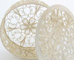 Beautiful design for quilling: Silver plated fine Russian filigree box