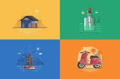 Summer Seaside Backgrounds. Vol.1 by krugli on @creativemarket