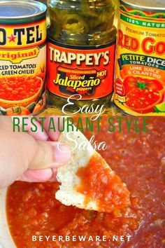 Quick and easy restaurant style salsa is a simple salsa recipe made with canned tomatoes, Rotel and jalapenos with some fresh garlic and onions so you can make the best salsa right at home. Mexican Restaurant Salsa, Easy Restaurant, Restaurant Recipes, Mexican Salsa, Mexican Style Salsa Recipe, Rotel Salsa Recipe, Best Salsa Recipe, Simple Salsa Recipe, Pico De Gallo