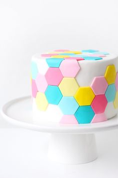 A pretty pastel hexagon cake Pretty Cakes, Beautiful Cakes, Amazing Cakes, Easy Cake Decorating, Cake Decorating Techniques, Decorating Supplies, Cake Cookies, Cupcake Cakes, Geometric Cake