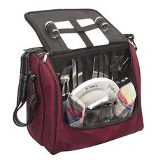 Enjoy an al fresco lunch at the orchard or wine and cheese in the park with this picnic tote set, offering service for 4 and a convenient shoulder strap.